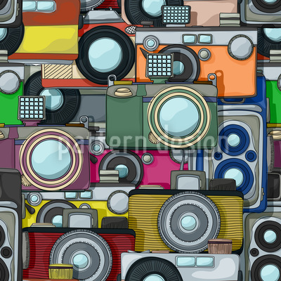 Retro Cameras Vector Pattern