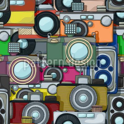 Retro Kameras Vektor Muster