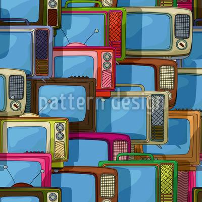 Fernseher Collage Nahtloses Vektormuster