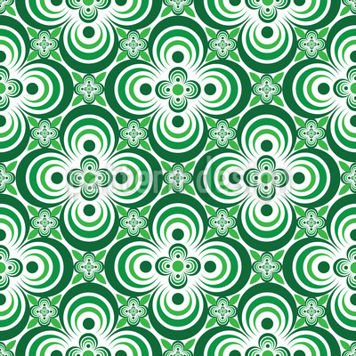 Quatrefoil Green Vector Ornament