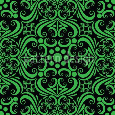Grüne Romanze Nahtloses Vektor Muster