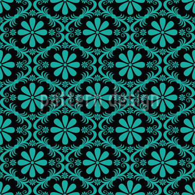 All Over Turquoise Flowers Pattern Design
