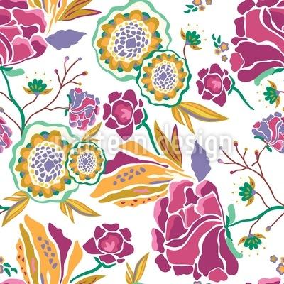 Arte floral durante el día Estampado Vectorial Sin Costura