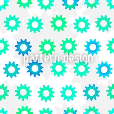 Green-Blue Gears Seamless Pattern