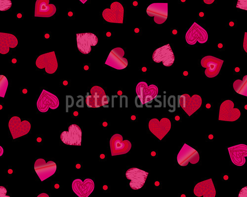 Hearts Dance Polka Seamless Vector Pattern Design