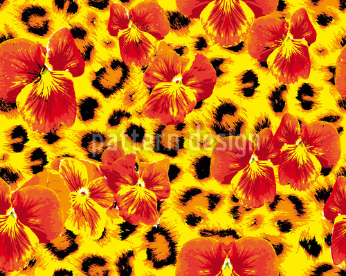 My Pansies Wild Cat Pattern Design