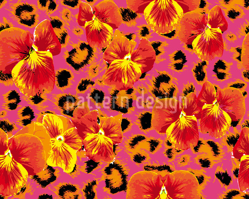 Pansies Wild Cat In Pink Design Pattern