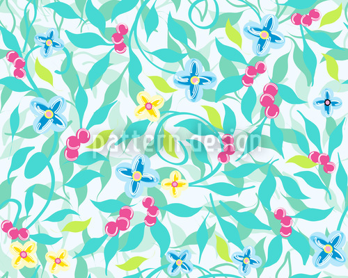 Berry Dreams On Turquoise Pattern Design