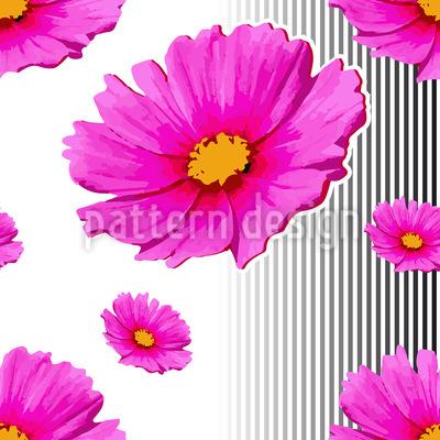Pink Cosmea Seamless Vector Pattern Design