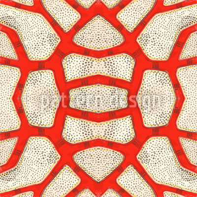 Red Coral Seamless Vector Pattern Design