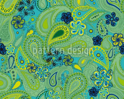 Rusalka Sonhos De Paisley Design de padrão vetorial sem costura