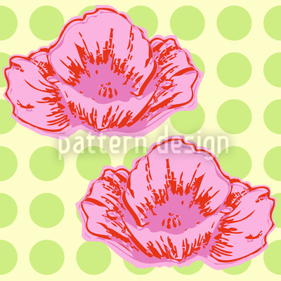 Poppies Like It Dotty Green Seamless Vector Pattern Design