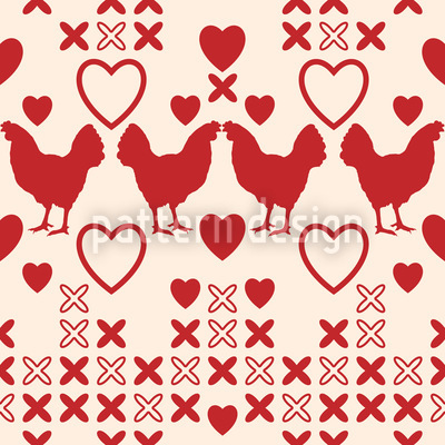 Chicken Have Big Hearts Pattern Design