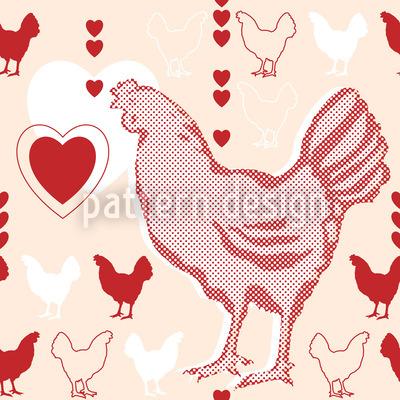 Hühner Mit Herz Vektor Muster