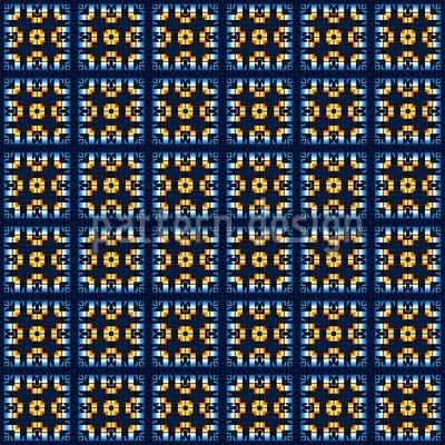 Kacheln In Blau Und Gold Rapport