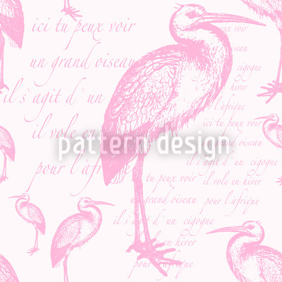 The Pink Stork Seamless Vector Pattern Design