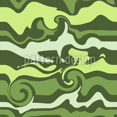Grünes Wellenchaos Nahtloses Vektor Muster