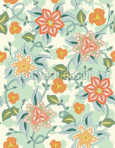 晩夏の花ロマンス シームレスなベクトルパターン設計
