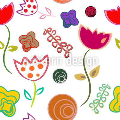 Annies Little Flower Flirt Estampado Vectorial Sin Costura