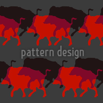 Wild Boar In Red Seamless Vector Pattern Design