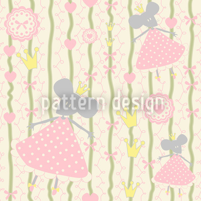 Little Mice Princess Birthday Seamless Vector Pattern Design