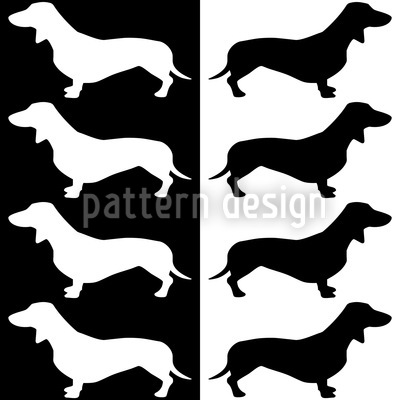 Dachshund Black And White Design Pattern