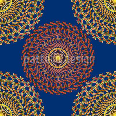 Solar Circles On Blue Design Pattern