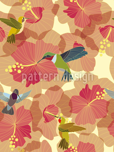 Hummingbird Marriage On Hibiscus Vector Design
