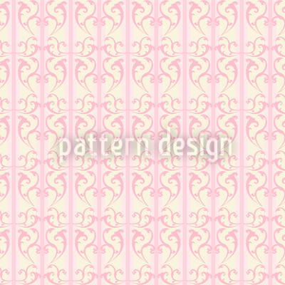 Strawberry On Striped Baroque Repeating Pattern