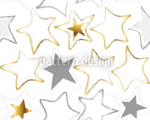 Estrellas Costuras En La Nieve Estampado Vectorial Sin Costura