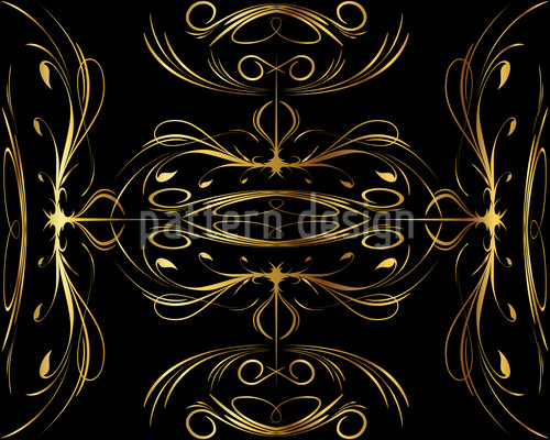 Flourishes In Gold Seamless Vector Pattern Design