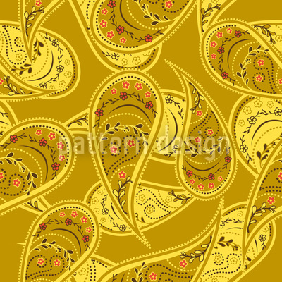 Gold Rush Of Paisleys Vector Ornament