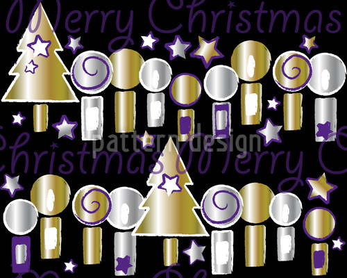 Candle Light Christmas Vector Pattern