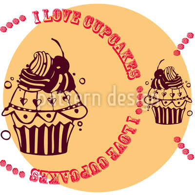 Cupcake Love Cream Seamless Pattern
