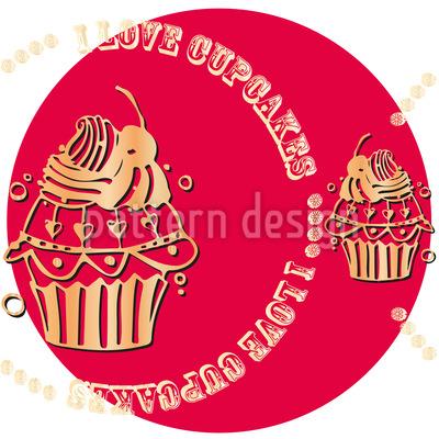 Cupcake Love Pink Nahtloses Vektor Muster