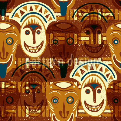 Popocatepetls Faces Seamless Vector Pattern Design