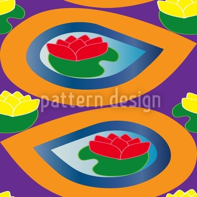 Tropic Drop Water Lillies Vector Ornament