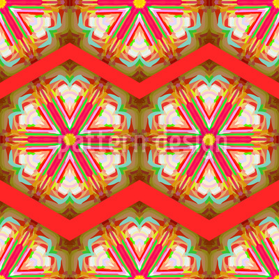 Kaleidoscope Zig Zag Red Seamless Vector Pattern