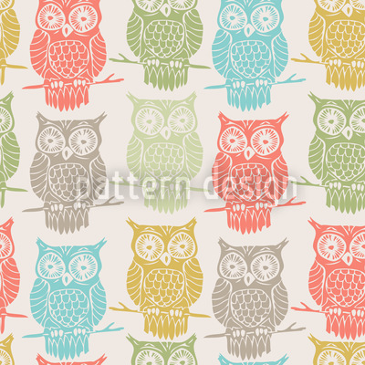 Colored Owls Look Out Vector Ornament