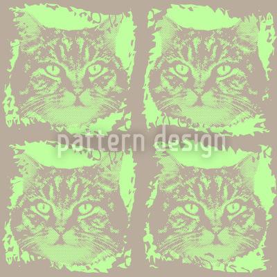 Katze Minka Grün Nahtloses Muster