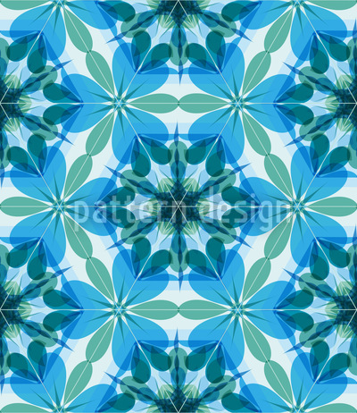 Kaleidoscope Extreme Aqua Seamless Vector Pattern Design
