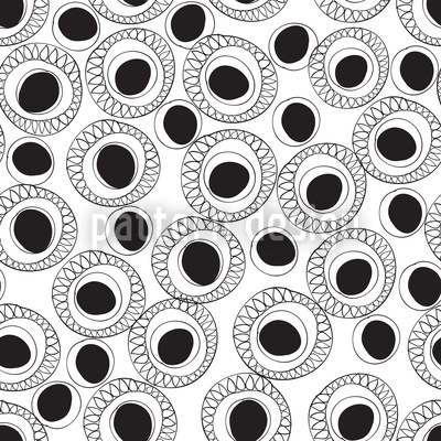 Black And White Fantasy Seamless Vector Pattern Design