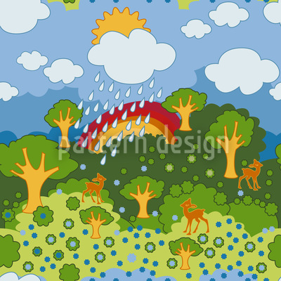 Regenbogen Wunderland Nahtloses Vektormuster