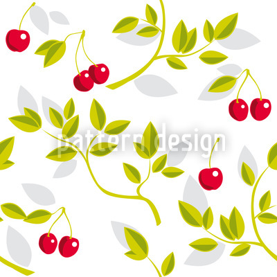Cherry Branches White Seamless Vector Pattern Design