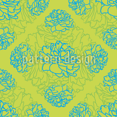 Rose Dream In Limegreen Seamless Vector Pattern