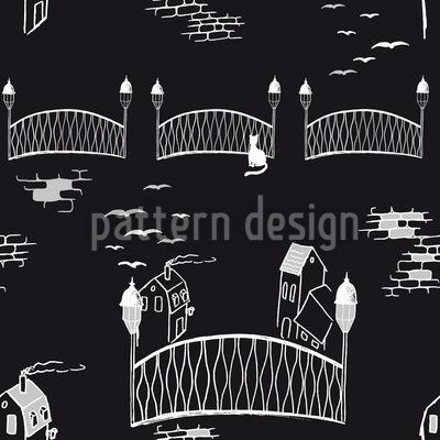 Ponte Gatinho À Noite Design de padrão vetorial sem costura