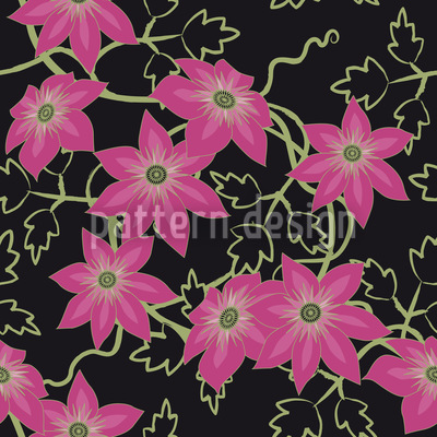 Clematis Dream Garden At Night Seamless Vector Pattern Design