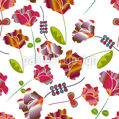 Flowers From Peru White Vector Pattern