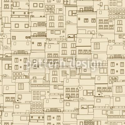 Kleine Seite Der Stadt Monochrom Nahtloses Vektormuster