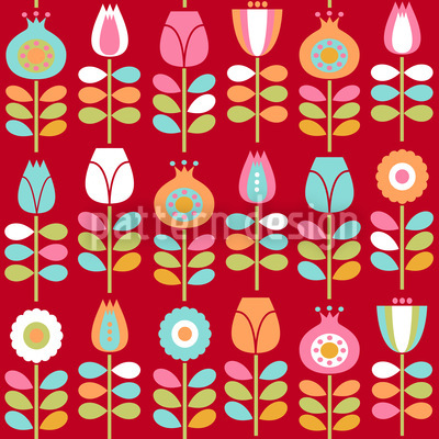 Seventies Flowers Vector Design
